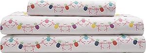 Elite Home Products Inc. Microfiber Flamingo-Pineapple Sheet Set, Multi, Twin