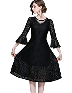 AIKOSHA Womens Vintage Floral Lace Cocktail Dress 3 4 Flare Sleeve Sheer  Lace A Line a4191544f