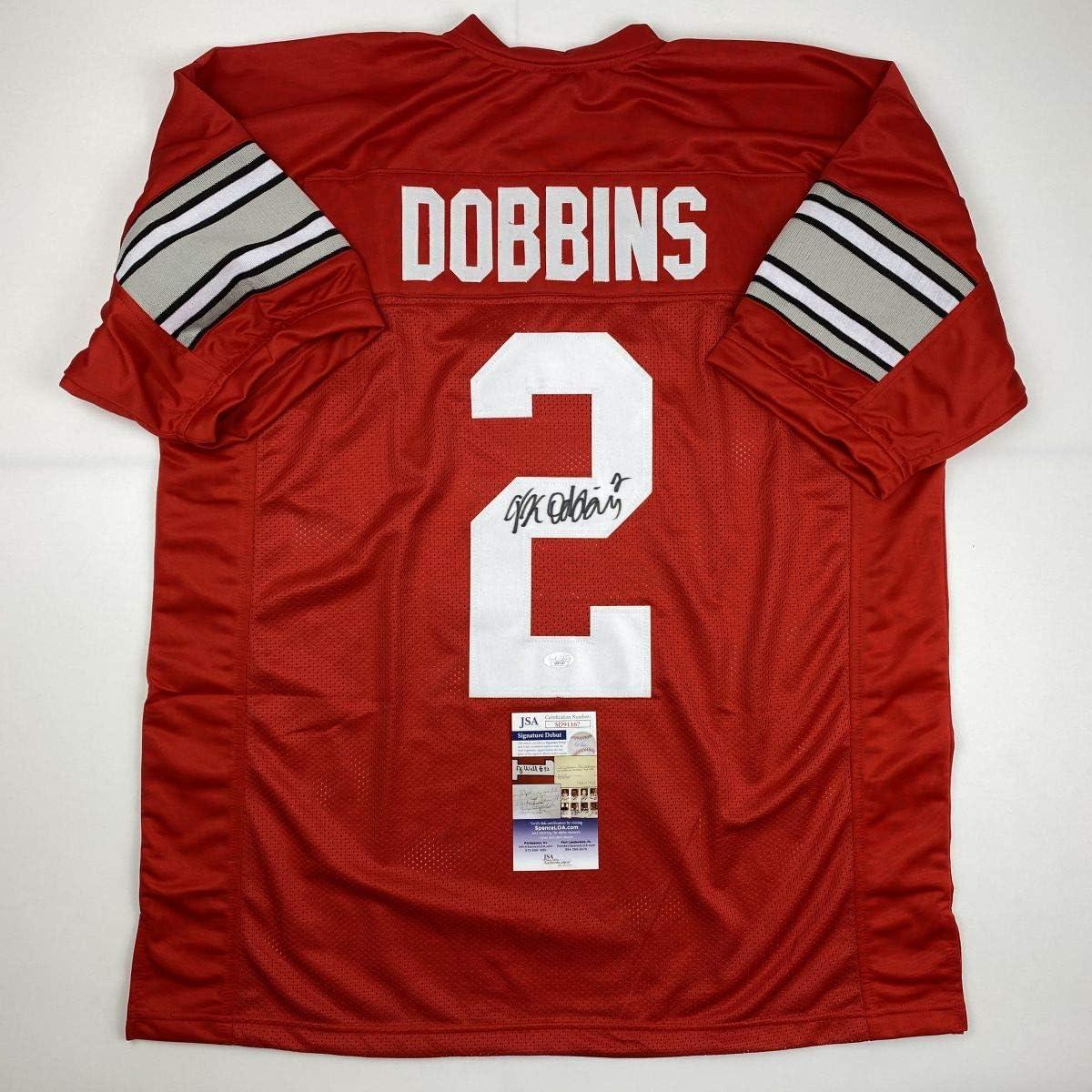 Autographed/Signed JK J.K. Dobbins Ohio State Red College Football Jersey JSA COA 71wS43evhELSL1200_