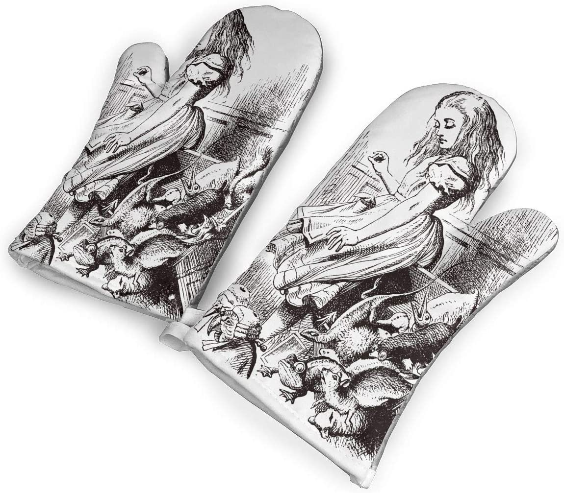 Alice_in_Wonderland_Scarf Oven Mitts 1 Pair,Non-Slip Oven Mitts,Extra Long Heat Resistant Oven Gloves Pot Holder for BBQ Cooking Baking,Grilling