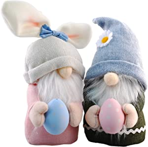 Easter Bunny Gnome Faceless Doll, MoBeauty 2 Pcs Easter Gnomes Plush Decor with Easter Egg Handmade Rabbit Spring Gifts for Kids Girls Boys
