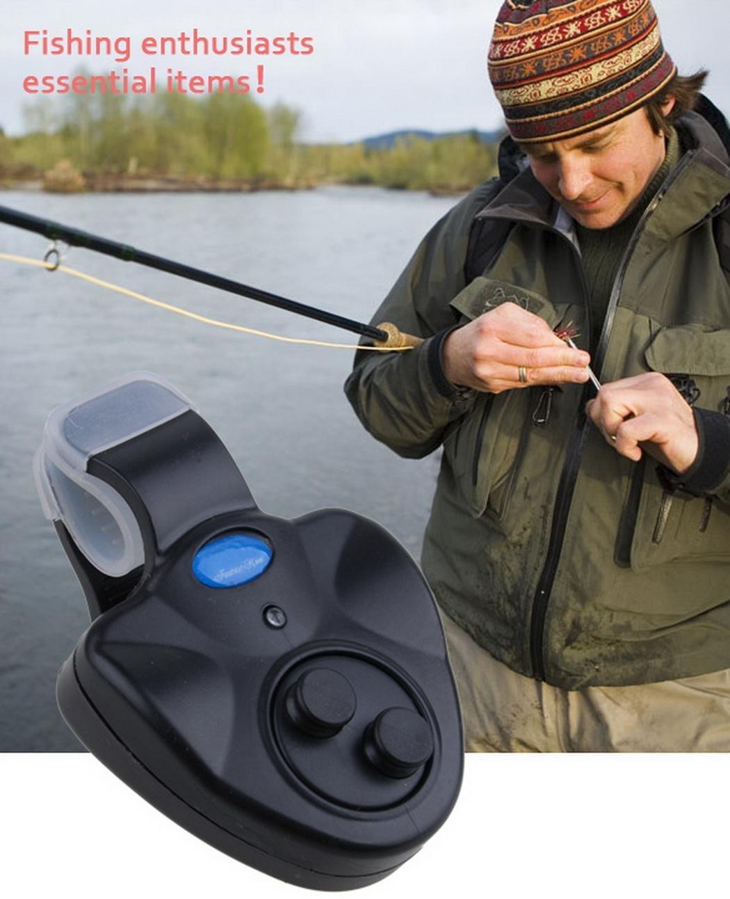 Fantiff incluida bater/ía de Timbre de Pescado Ca/ña de Pescar con luz LED para Exteriores Alarma electr/ónica de picada