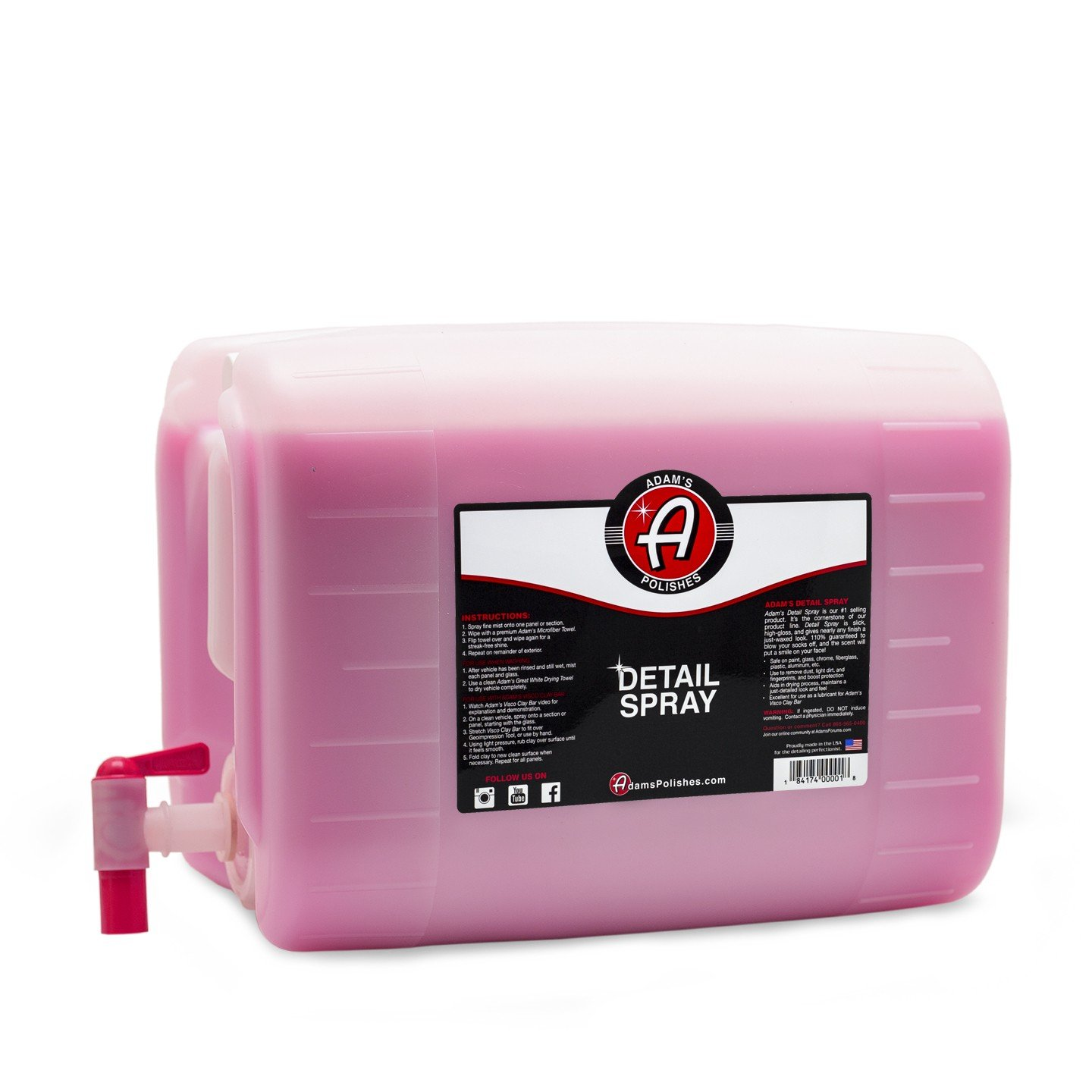 Adam's Detail Spray - Enhance Gloss, Depth, Shine - Extends Protection with Wax Boosting Technology - Our Most Iconic Product, Guaranteed to Outshine The Competition (5 Gallon)