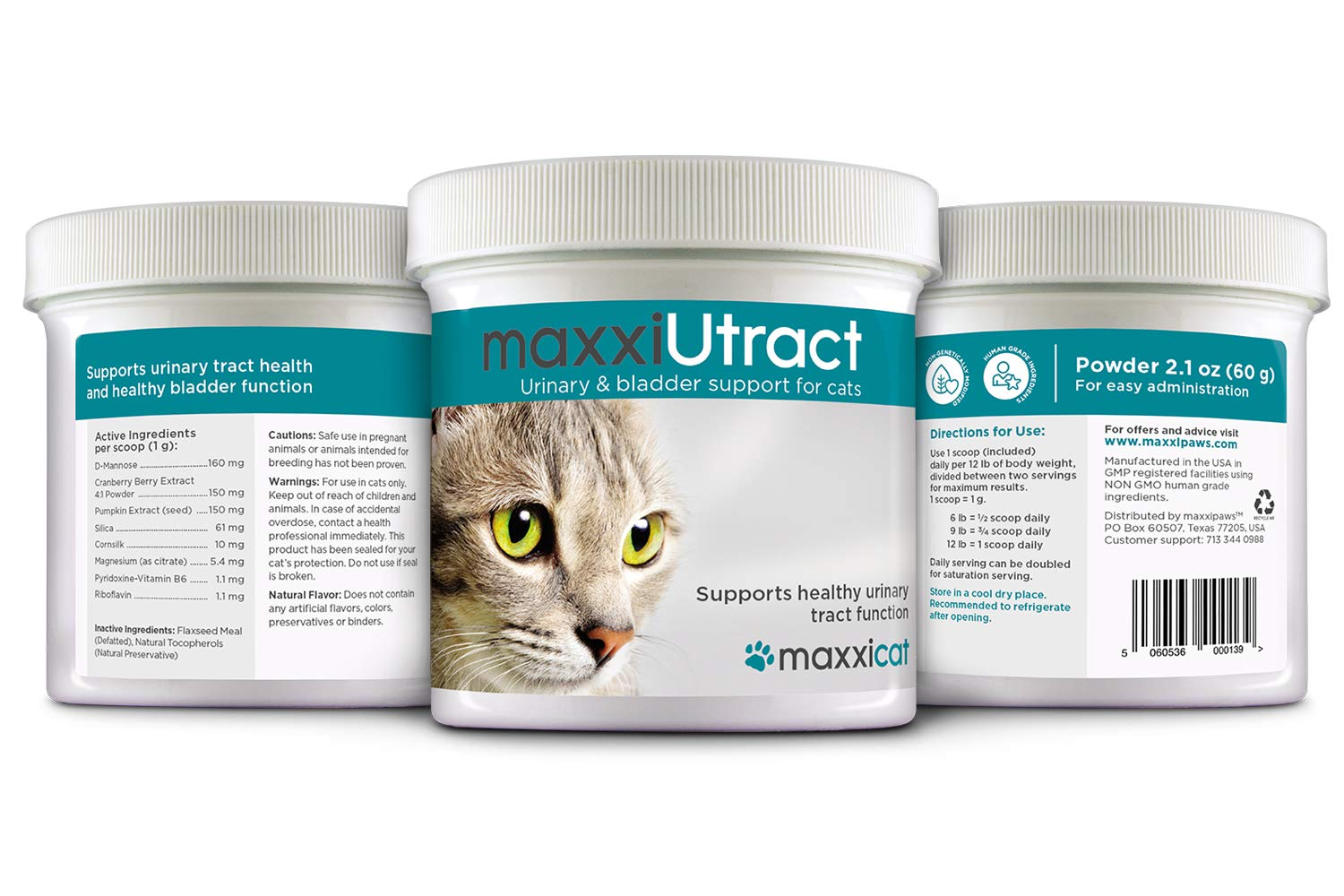 maxxicat – maxxiUtract Urinary and Bladder Supplement for Cats – Helps Prevent UTI Recurrence, Support Feline Bladder Control and Urinary Tract System Health – Cranberry Formula Powder 2.1 oz 8