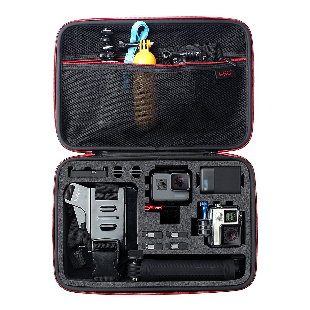 Large Carrying Case for GoPro Hero(2018),HERO6,5,4,+LCD, Black, Silver, 3+, 3, 2 and Accessories by HSU with Fully Customizable Interior Carry Handle and Carabiner Loop