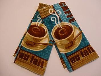 Cafe Au Lait Coffee Latte Kitchen Towels 2pk