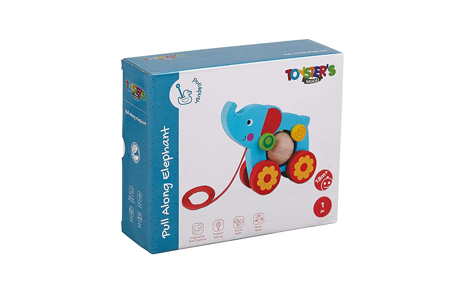 Gifts for Toddler Babies 1 Year Old and Up | PU600 TOYSTERS Pull Along Elephant Walking Toy Wood Animal Walker Toys for Boys and Girls