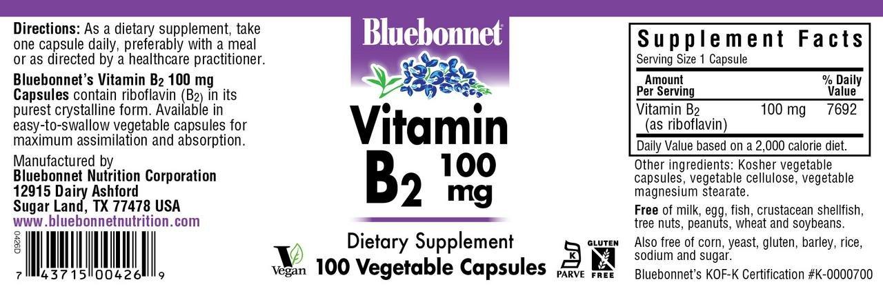 Bluebonnet Vitamin B-2 100 mg Vegetable Capsules, 100 Count by Bluebonnet
