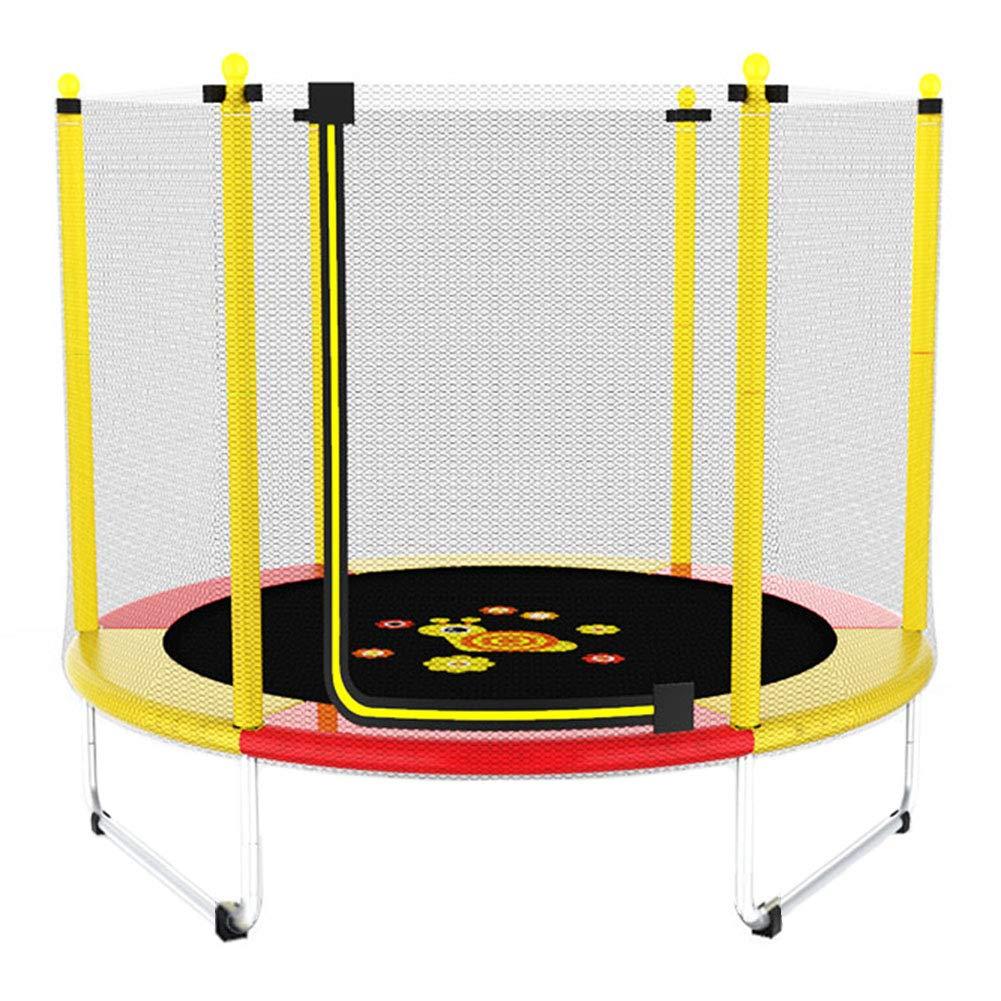 Trampolin, Kindertrampolin mit Gehäusenetz für Indoor/Outdoor Ø 150 cm - Max. Belastung 250 kg (gelb) - einfach zusammenbauen