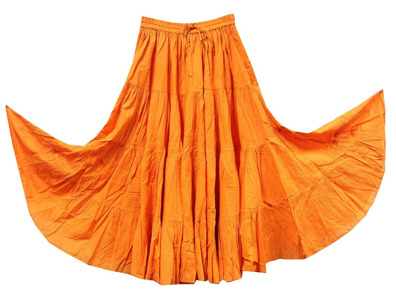 KayJayStyles Women's Tribal Gypsy 25 Yard Solid Color Cotton Dancing Skirt (Orange)