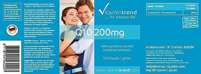 Coenzima Q10 200mg - 180 cápsulas para ¡6 MESES!- Cápsulas veganas ...