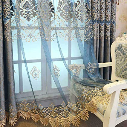 AiFish Blue Sheer Curtains Panel 63 Living Room Luxury European Embroidered Floral Window Treatment Drape Panels