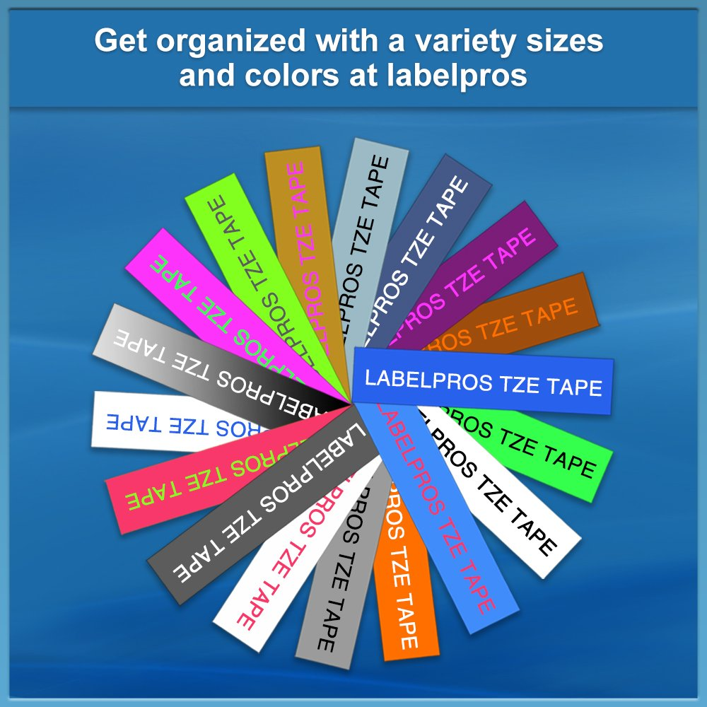 6 Pack TZe-131 TZe-231 TZe-431 TZe-531 TZe-631 TZe-731 Compatible Brother P Touch Label Tape 12mm X 8m by LabelPros (Image #6)