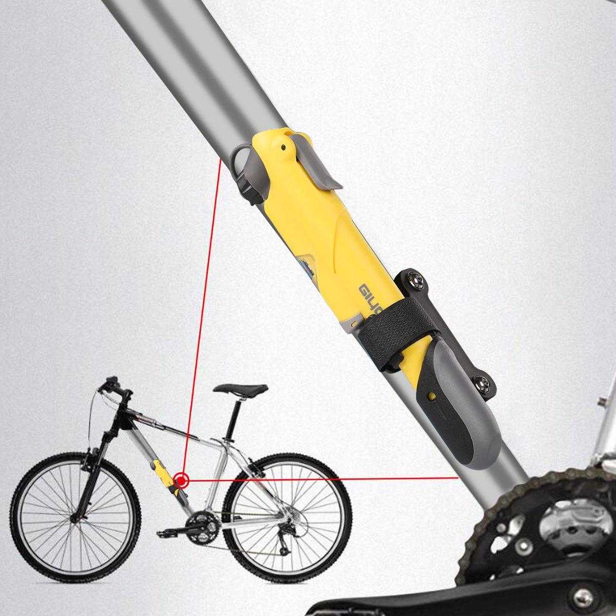 /Mini bicicleta bomba Double Shot Bike Mini bomba aleaci/ón Mini bomba con man/ómetro y soporte de montaje para carretera y bicicletas de monta/ña Giyo/