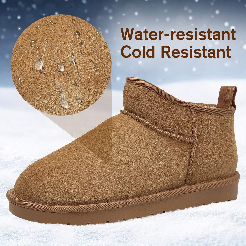 CAMEL CROWN Stivali Invernali da Uomo Caldi Foderato Pelliccia Classic  Boots Scarponi da Neve in Pelle Scamosciata Scarpe da Casa Pantofole  Unisex  ... c258cf0c923