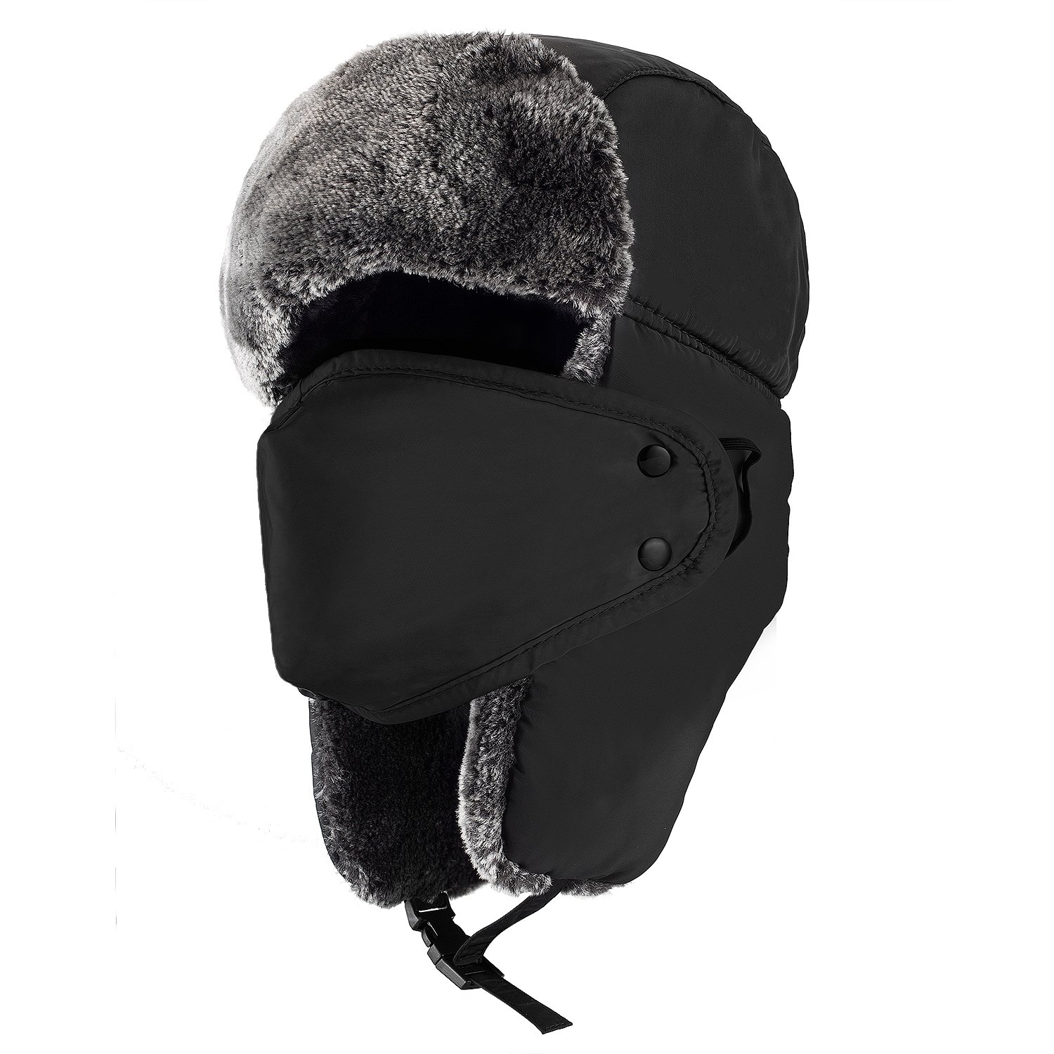 f4d5f2842fd Amazon.com   Mysuntown Unisex Winter Trooper Hat Hunting Hat Ushanka Ear  Flap Chin Strap and Windproof Mask (Black)   Sports   Outdoors
