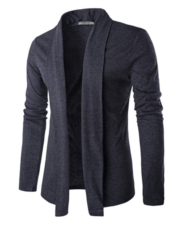 DAVID.ANN Men's Long Sleeve Draped Open Front Shawl Collar Longline Cardigan,Dark Grey,Large