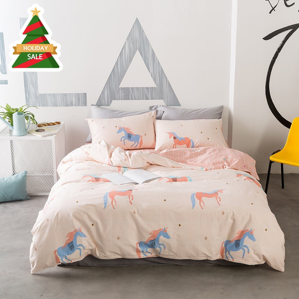 ORoa Soft Cute Cartoon Animal Unicorn Bedding Duvet Cover Queen Full Size Set for Kids Boys Girls Cotton 100 Percent