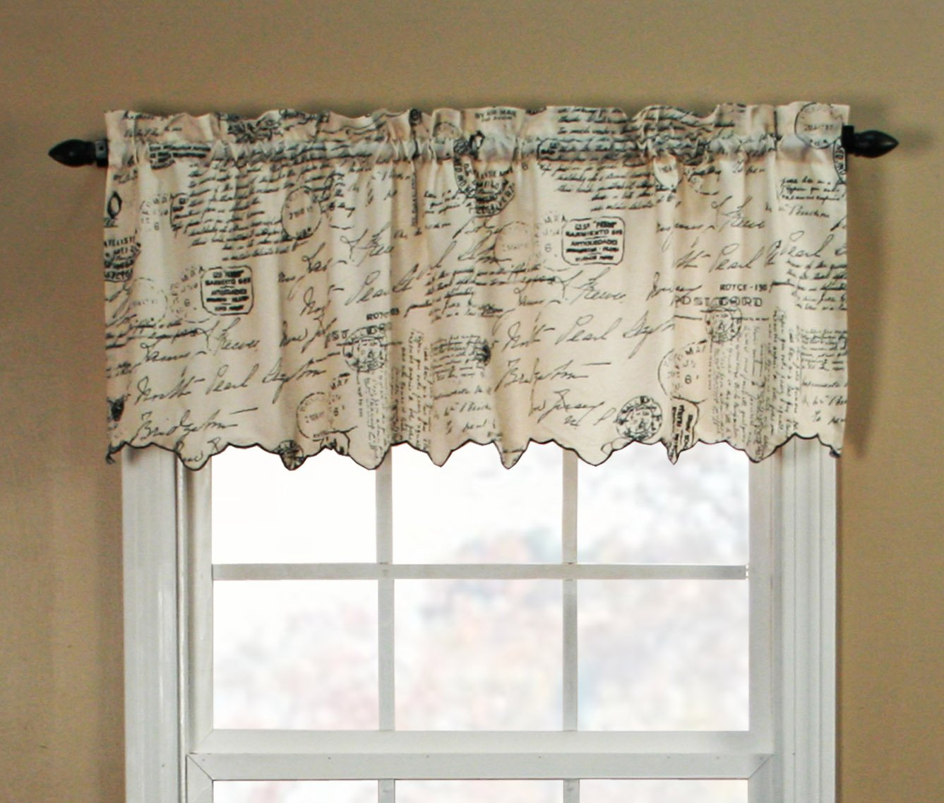 "Ellis Curtain Script Crushed Taffeta 48"" x 15"" Valance, Black"
