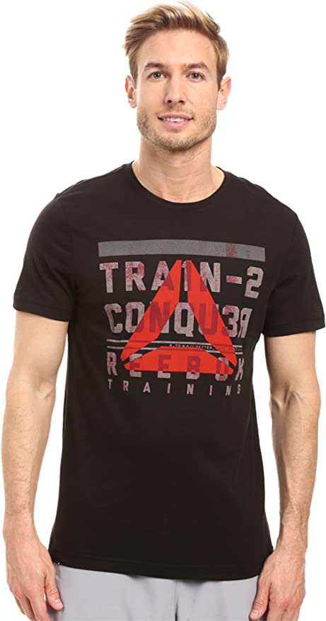 Men/'s Reebok TRAIN TO CONQUER BRANDMARK T-Shirt Tee Black