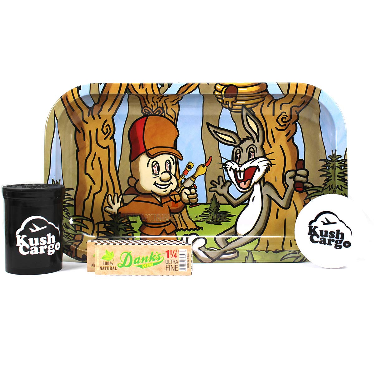 Errlmer and Nugz Bunny Rolling Tray with KC Grinder and Rolling Papers by Unknown