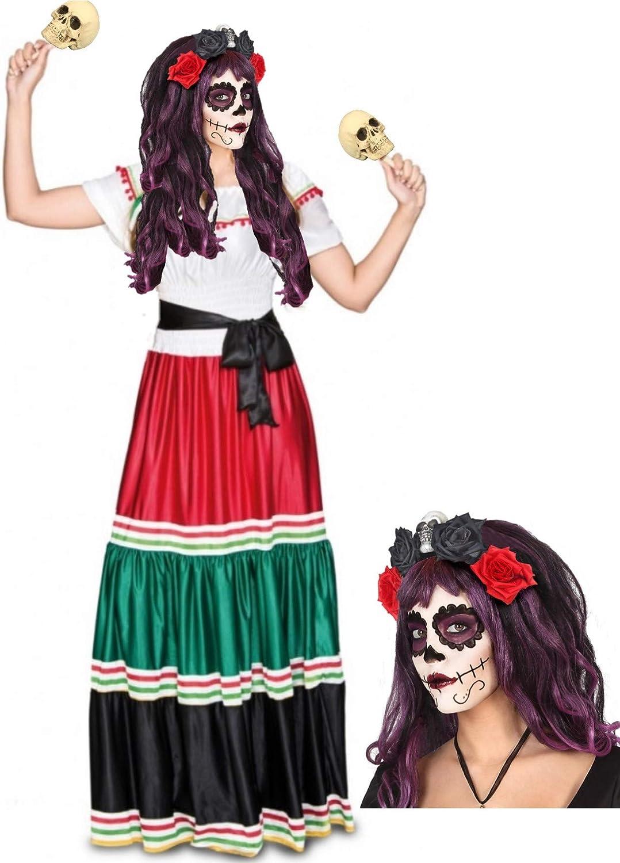 Disfraz de Catrina Mejicana: Amazon.es: Ropa y accesorios