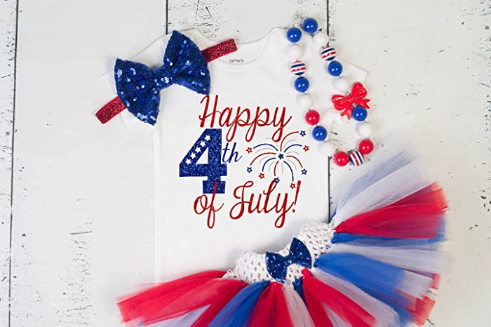 Amazon Com Girliesgalore 4th Of July Baby Girl Outfit Fourth Of