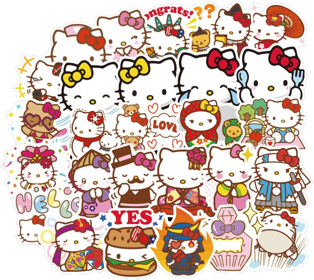 100Pcs Hello Kitty Cute Lovely Stickers for Water Bottle Cup Laptop Guitar Car Motorcycle Bike Skateboard Luggage Box Vinyl Waterproof Graffiti Patches JKT