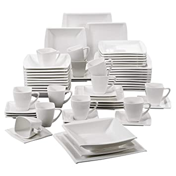 MALACASA, Série Blance, 60pcs Services de Table Complets Porcelaine, 12pcs  Assiettes Plates, 18e42e6fdb48