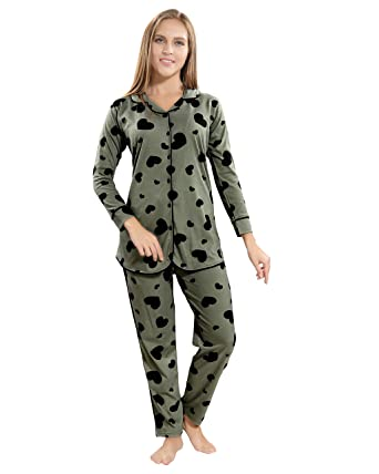 ed0883f6d7 AV2 Women Cotton Front Open Long Sleeve Top   Pajama Set 2881  Amazon.in   Clothing   Accessories