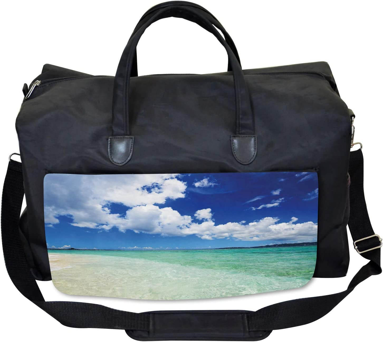 Large Weekender Carry-on Island Sealife Wavy Sunny Ambesonne Ocean Gym Bag
