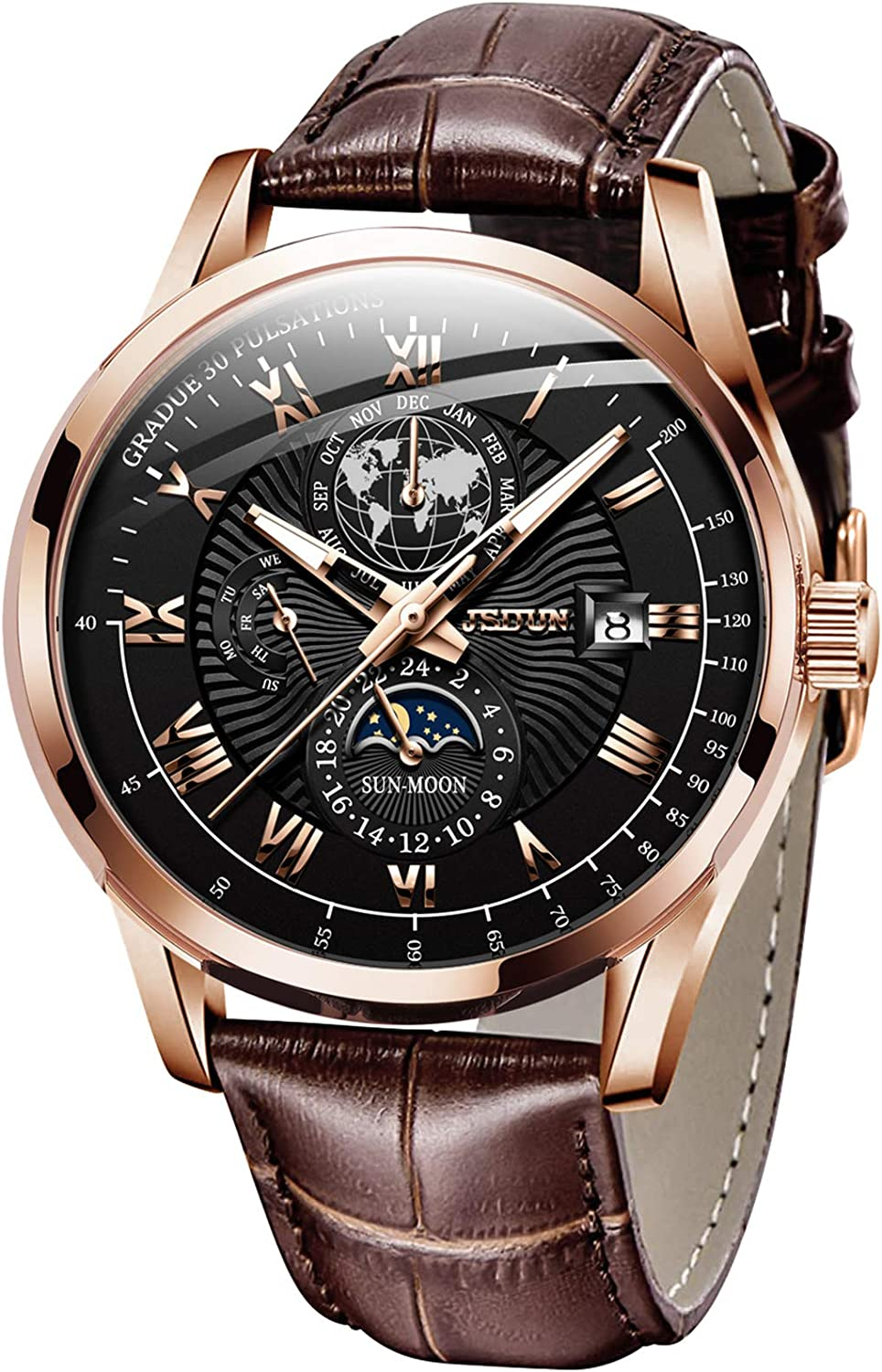 Automatic Watches for Men Self Winding Mechanical Leather Band Moon Phase 24 Hours Date Week Month Waterproof Luminous Wrist Watch
