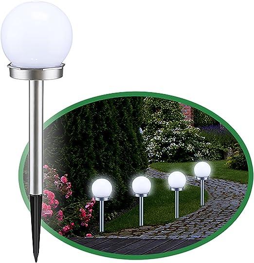 FineHome - Juego de 8 lámparas solares LED para jardín, Color Blanco y Plateado: Amazon.es: Jardín