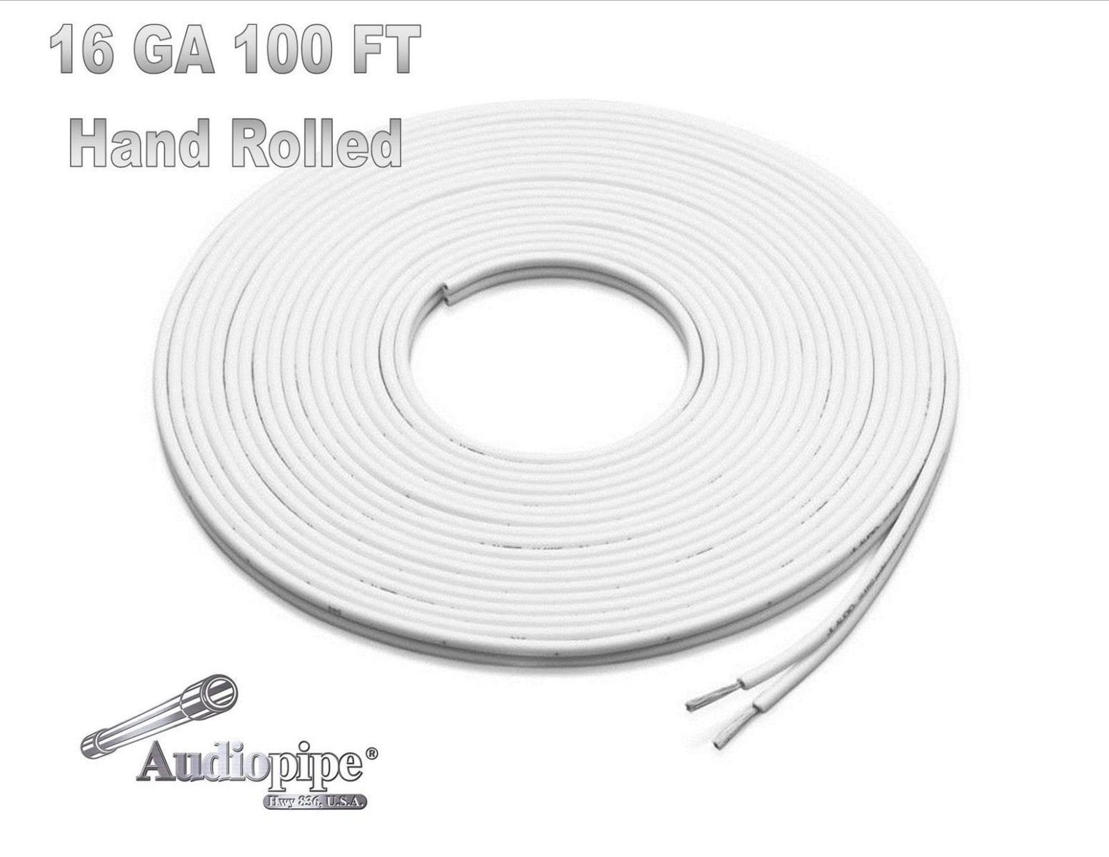 100 FT 16 GAUGE WHITE MARINE SPEAKER WIRE STRANDED TIN COPPER PLATED