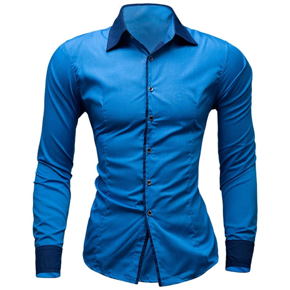 e9639415d Hombre Camisas Moda Manga Larga de Color Puro para Hombre Men Fashion Slim  Fit Casual Long Sleeves Shirts 2028  Amazon.es  Ropa y accesorios