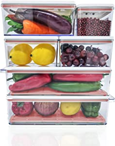MineSign 6 Pack Plastic Stackable Food Storage Containers With Vented Lids And Drain Tray For Refrigerator Produce Saver Organizer Keeper Bins For Fridge Freezer Cabinet Kitchen Organization