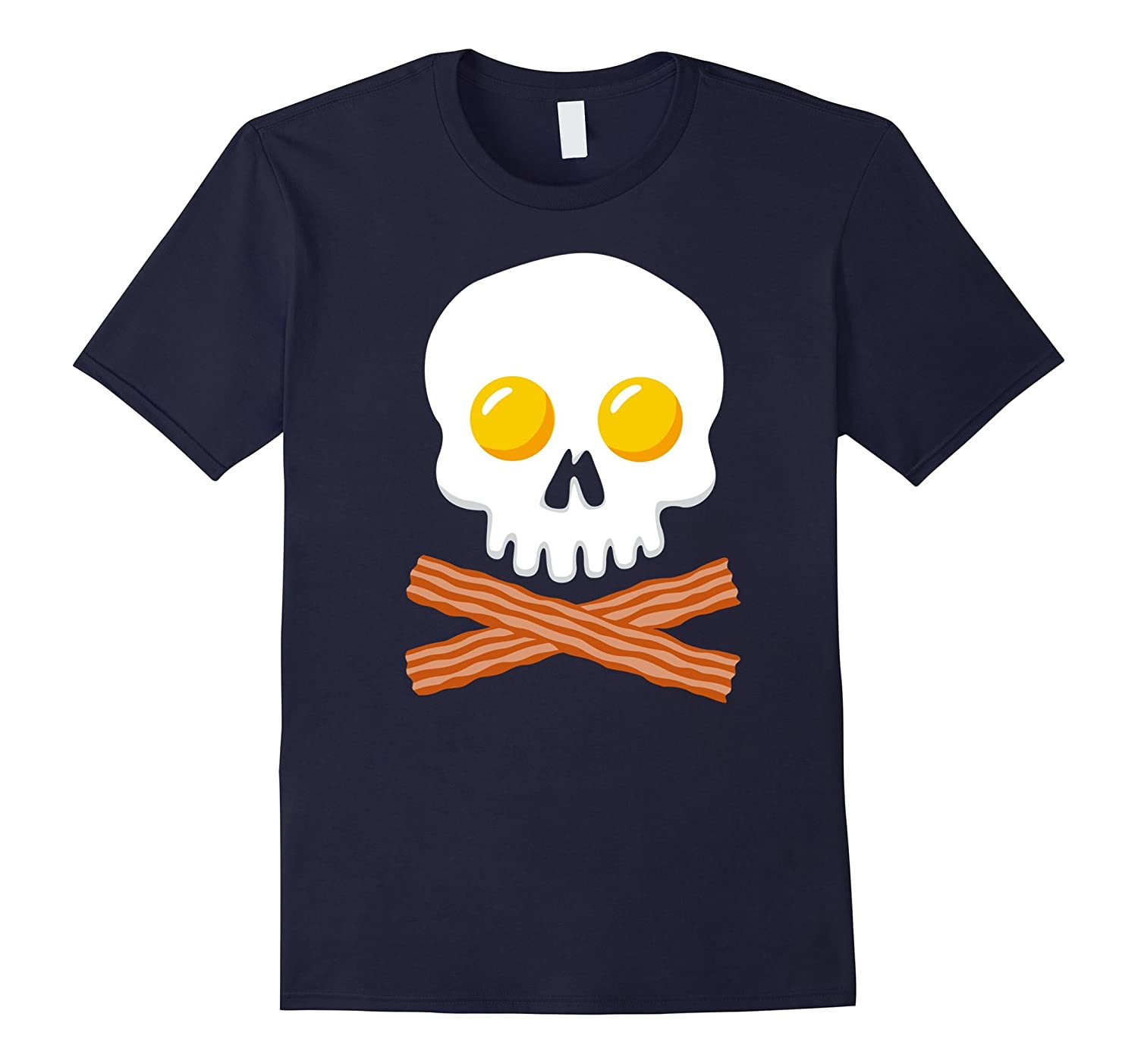 Breakfast Skull Shirt Egg and Bacon Skull Crossbones Tshirt-T-Shirt