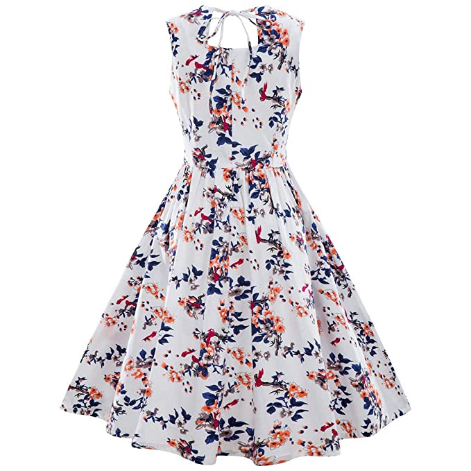 6cf55ea190 Christmas Womens Vintage Holiday Party Plus Size Sleeveless A Line Dress  Flower Print Back String Retro Flare Swing Dress  Amazon.ca  Clothing    Accessories