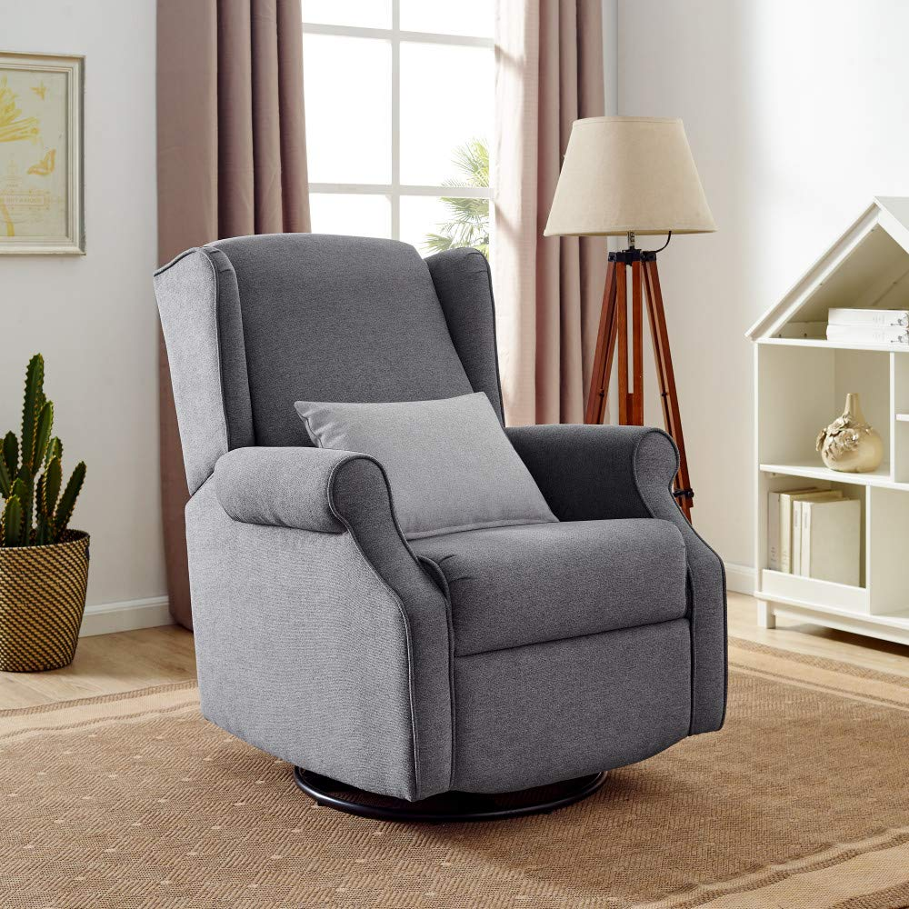 Classic Brands Expo Lovel Popstitch Upholstered Glider Swivel Rocker Chair, Grey by Classic Brands