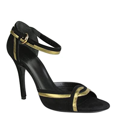 bcedc58e831 Amazon.com  Gucci Black and Gold Metallic Suede Leather Sandal 9B 186641  8260 (US 9B)  Shoes