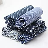 KING DO WAY 7 Pz Tessuti Stampato Cotone per Cucire Stoffa a Metro Stoffa per patchwork Floreale-Blu Scuro 50cmX50cm