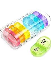 AUVON Tablettenbox 7 Tage, Pillendose 7 tage 2 fächer, handlicher und feuchtigkeitsbeständiger Medikamentenbox für die Hand- oder Hosentasche, um Vitamin- und Medikamente aufzubewahren