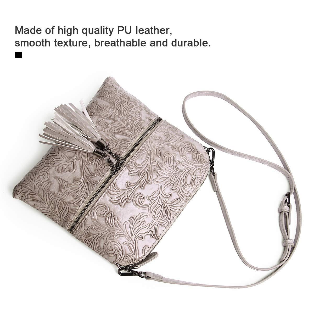 Kvinnor designer cross-body väskor flera fickor tofs axelväskor PU-läder vintage blomma präglad multifunktionell crossbody väska för damer gåva 9581 9581gray