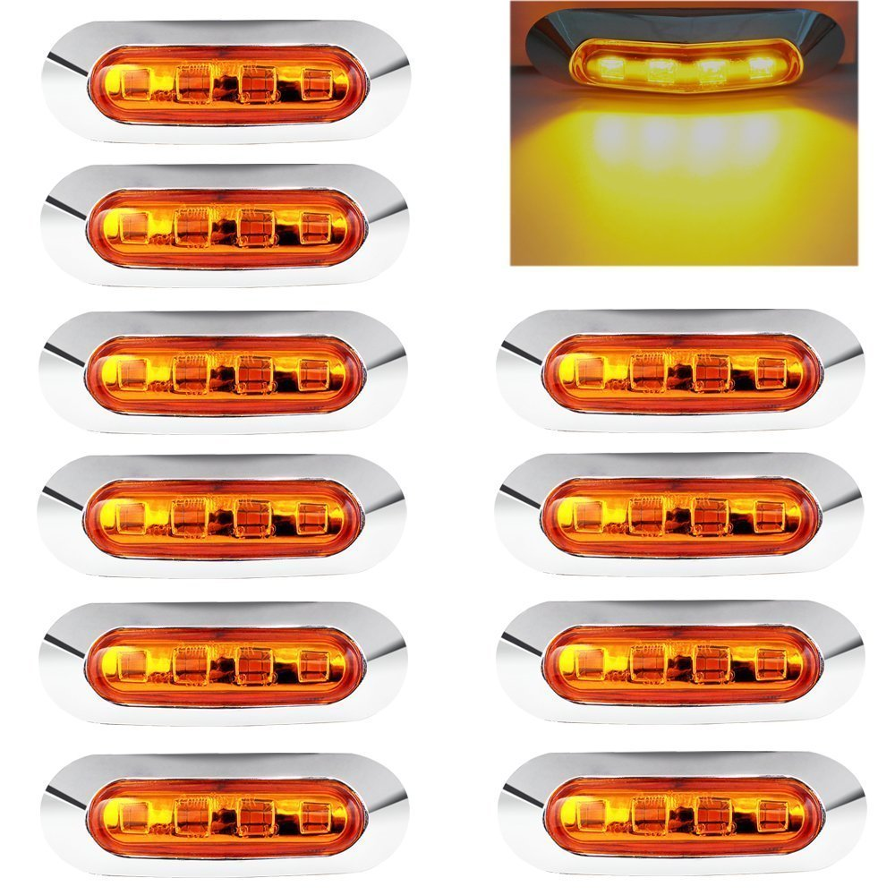 10 pcs LED Feux de remorque côté Feux de gabarit de voiture d'urgence kit Purishion 4 LED Lampe 12 V 24 V de dégagement pour voitures Camion Remorque Camion van