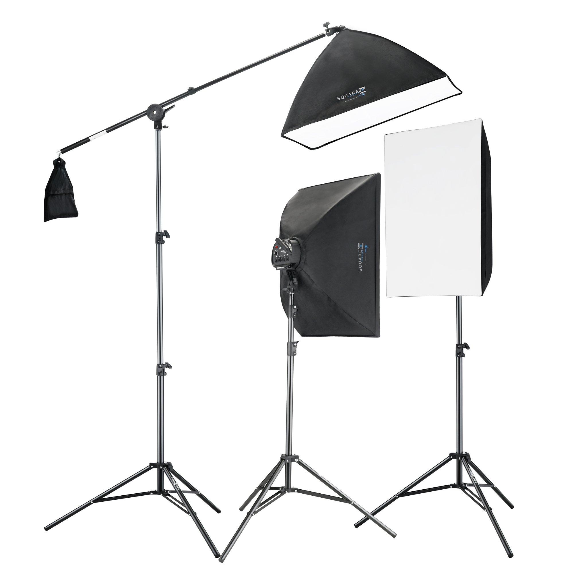 Square Perfect 2815 Professional Quality 2275W Digital Video Softbox Lighting Kit Boom Stand