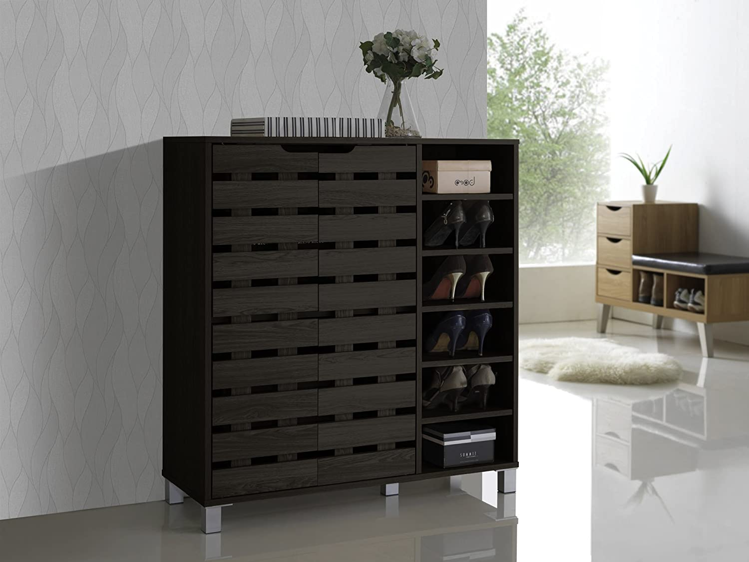 Amazon.com Baxton Studio Shirley Modern u0026 Contemporary Wood 2-Door Shoe Cabinet with Open Shelves Dark Brown Kitchen u0026 Dining & Amazon.com: Baxton Studio Shirley Modern u0026 Contemporary Wood 2-Door ...
