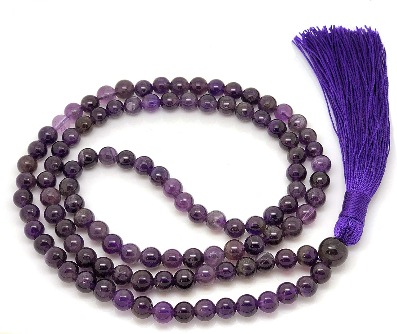 Givereldi Piedra Preciosa collar de cuentas de mala pulsera 108 cuentas de 6 mm de ancho - sentadas espalda con espalda más 1 cuenta de gran gurú - collar de oración, meditación o borla