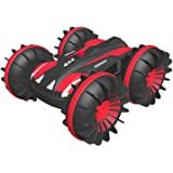 Waterproof Remote Control Car Boat 4WD 6CH 2.4G All Terrain RC Vehicle 1/16 Scale Double Sides Stunt Vehicle with 360…