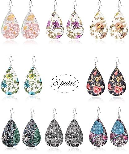 b29354b0d91c2 Ofeiyaa 8 Pairs Teardrop Faux Learther Earrings Glitter Leaf Dangle  Earrings Bohemia Petal Earrings for Women Girls