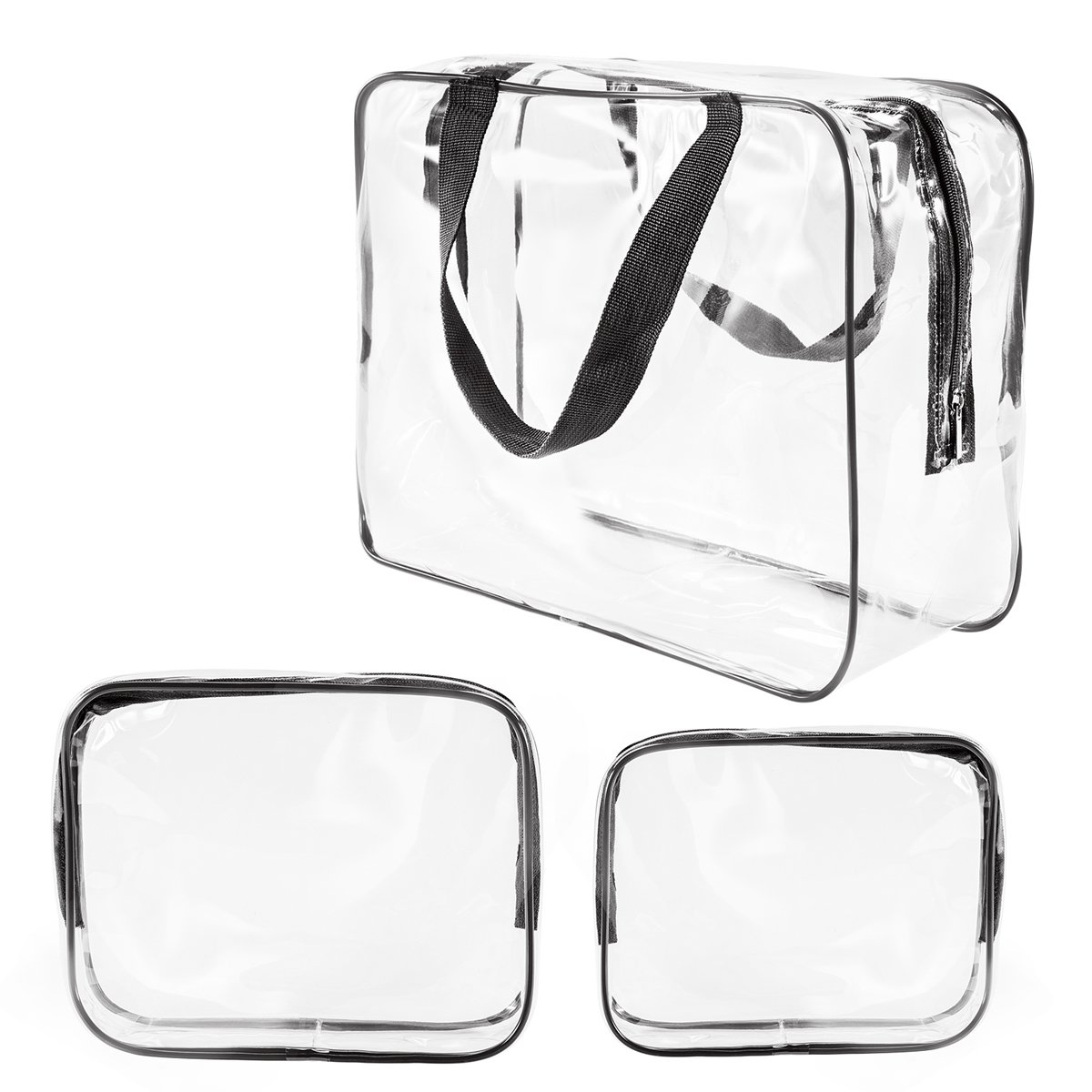 3Pcs Crystal Clear Cosmetic Bag TSA Air Travel Toiletry Bag Set with Zipper Vinyl PVC Make-up Pouch Handle Straps for Women Men, Roybens Waterproof Packing Organizer Storage Diaper Pencil Bags Black
